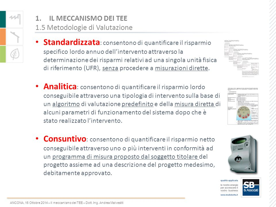 IL MECCANISMO DEI TEE 1.5 Metodologie di Valutazione.