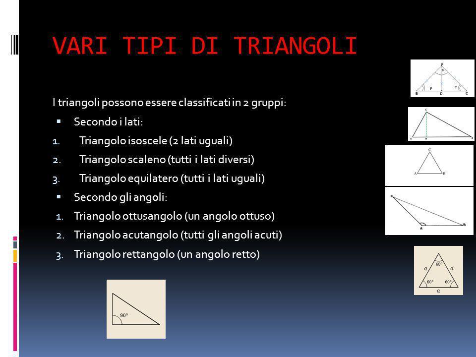 VARI TIPI DI TRIANGOLI I triangoli possono essere classificati in 2 gruppi: Secondo i lati: Triangolo isoscele (2 lati uguali)