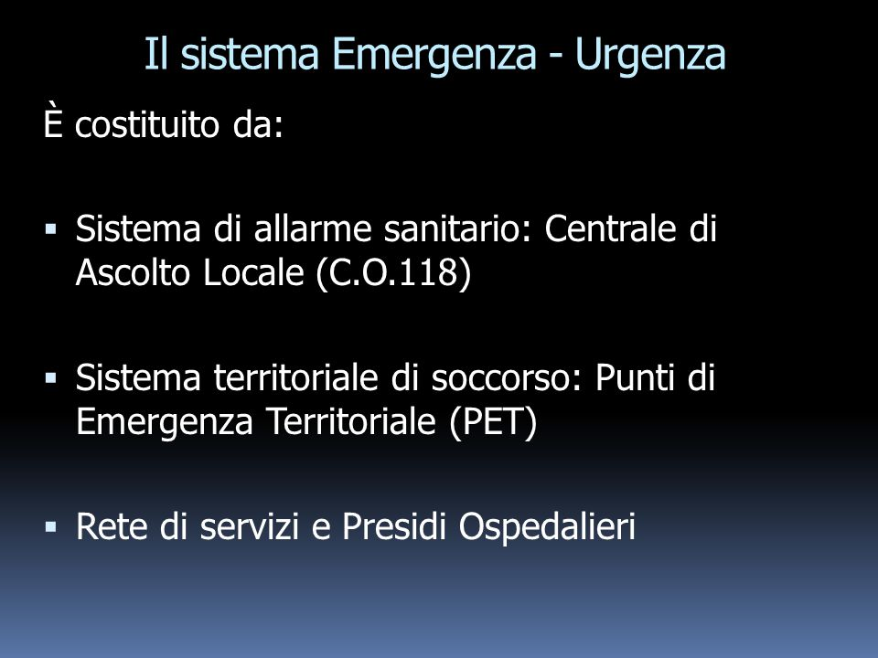 Il sistema Emergenza - Urgenza