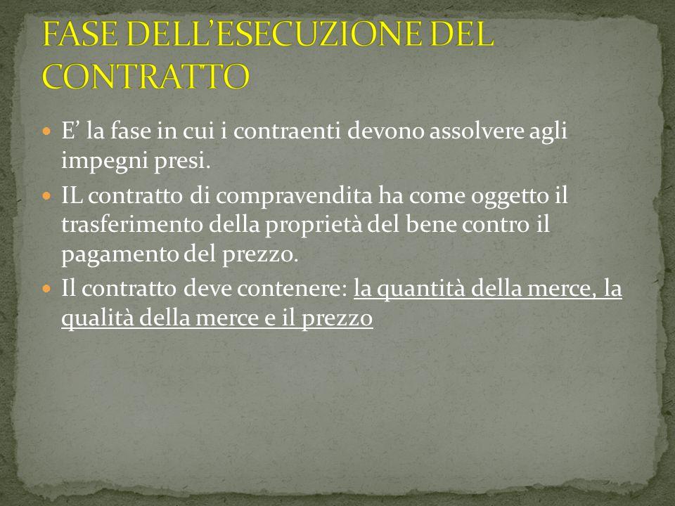 FASE DELL'ESECUZIONE DEL CONTRATTO