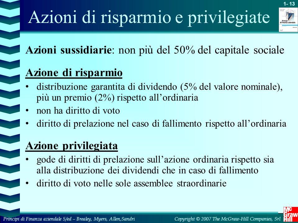 Azioni di risparmio e privilegiate