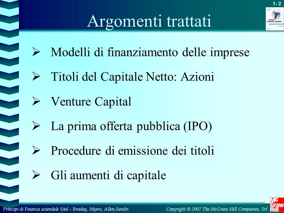 Argomenti trattati Modelli di finanziamento delle imprese