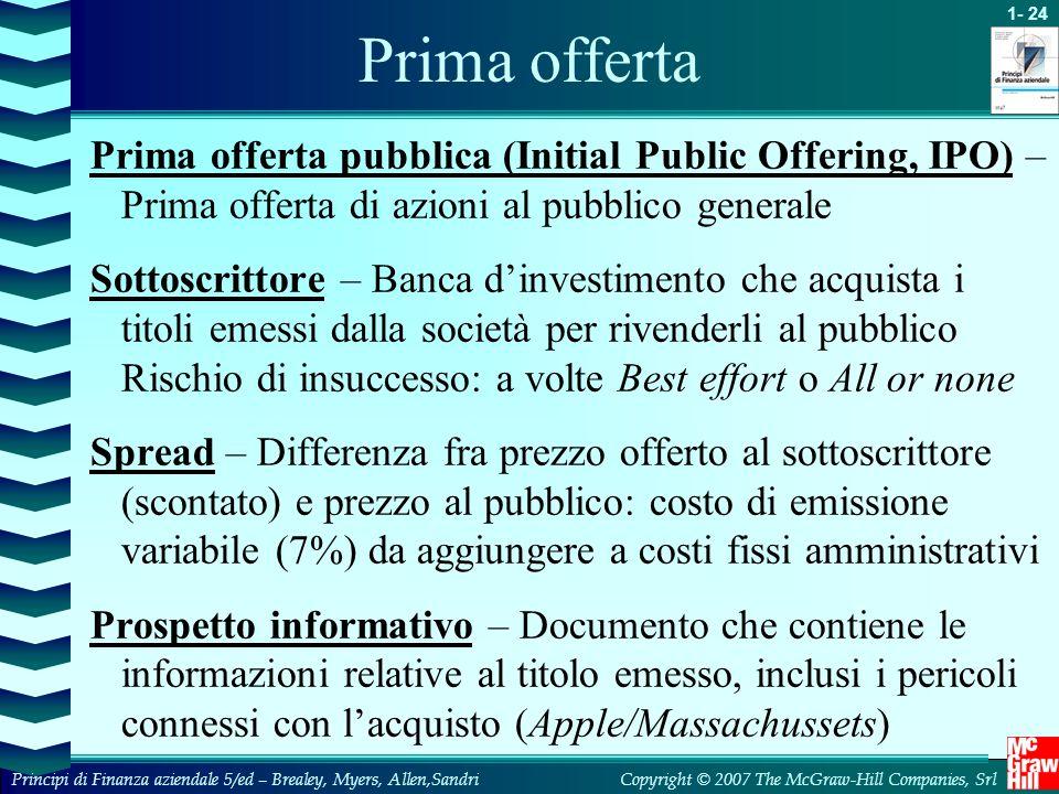 Prima offerta Prima offerta pubblica (Initial Public Offering, IPO) – Prima offerta di azioni al pubblico generale.