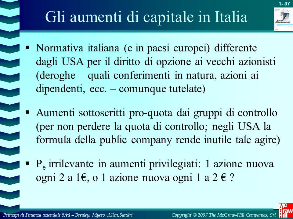 Gli aumenti di capitale in Italia