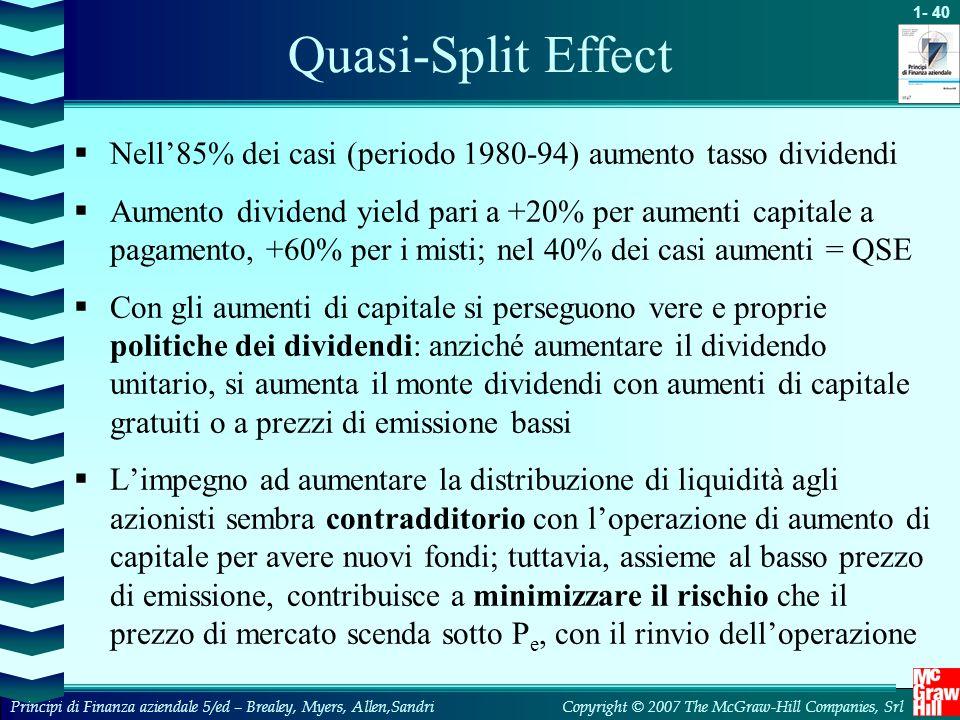 Quasi-Split Effect Nell'85% dei casi (periodo 1980-94) aumento tasso dividendi.