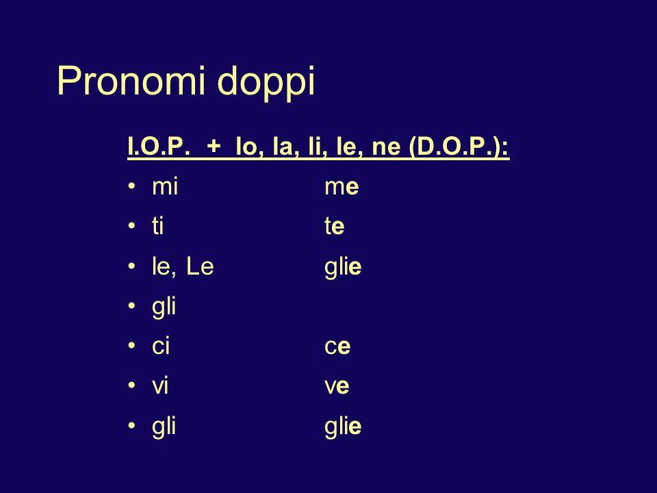 Pronomi doppi I.O.P. + lo, la, li, le, ne (D.O.P.): mi me ti te