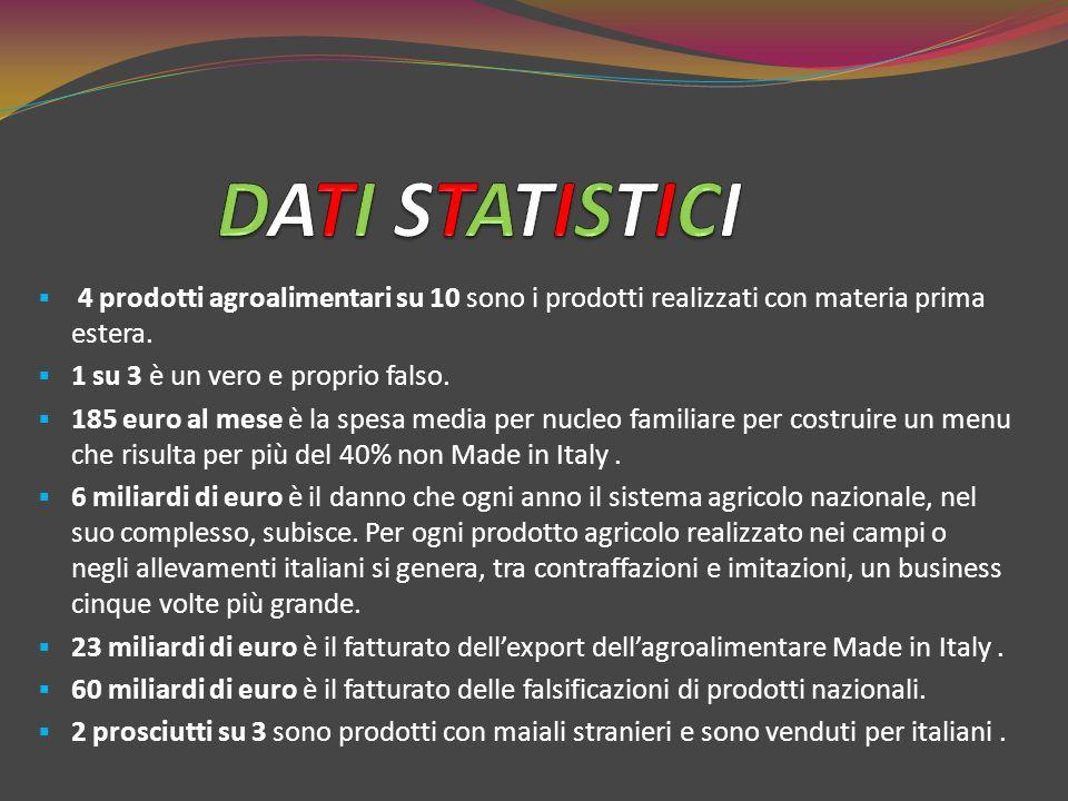 DATI STATISTICI 4 prodotti agroalimentari su 10 sono i prodotti realizzati con materia prima estera.