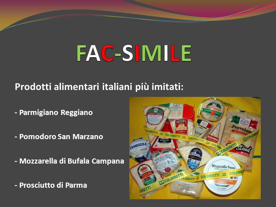 FAC-SIMILE Prodotti alimentari italiani più imitati: