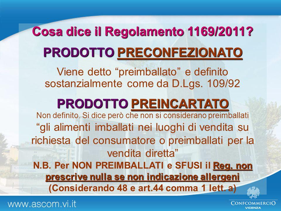 Cosa dice il Regolamento 1169/2011 PRODOTTO PRECONFEZIONATO