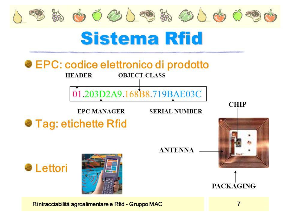 Sistema Rfid EPC: codice elettronico di prodotto Tag: etichette Rfid