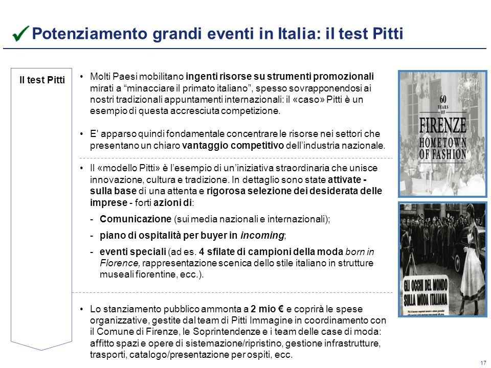 Potenziamento grandi eventi in Italia: il test Pitti