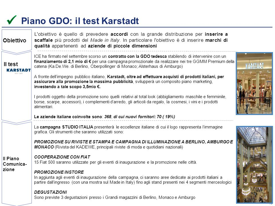 Piano GDO: il test Karstadt