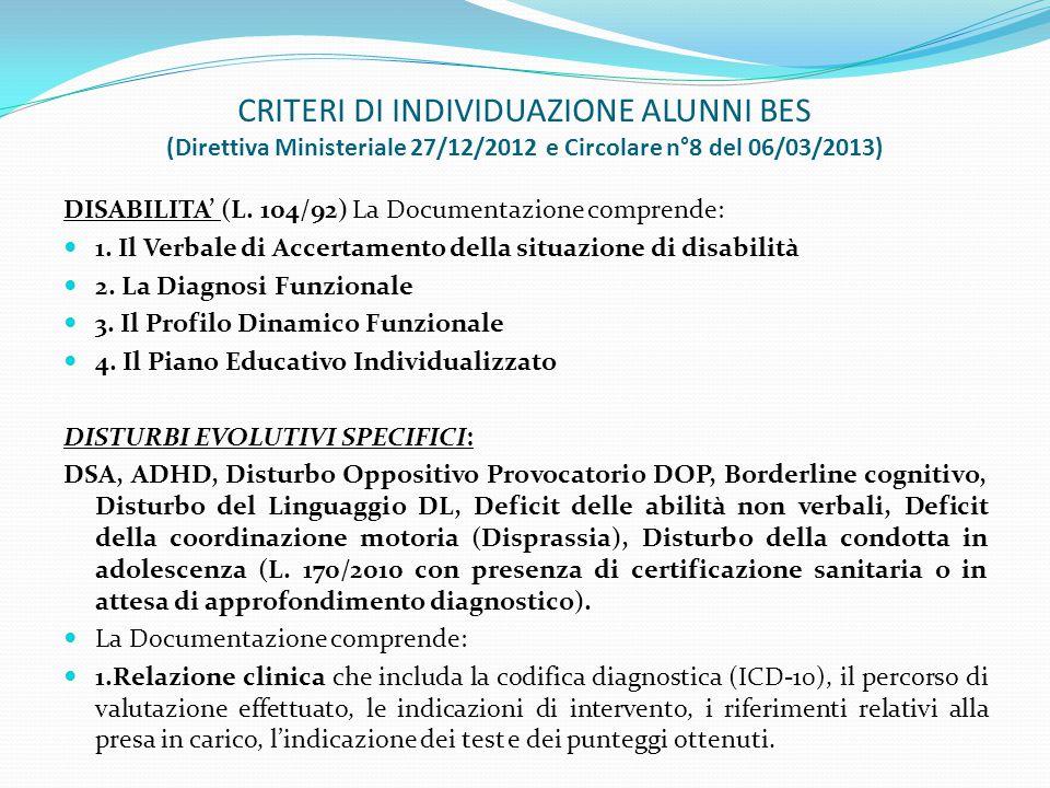 CRITERI DI INDIVIDUAZIONE ALUNNI BES (Direttiva Ministeriale 27/12/2012 e Circolare n°8 del 06/03/2013)