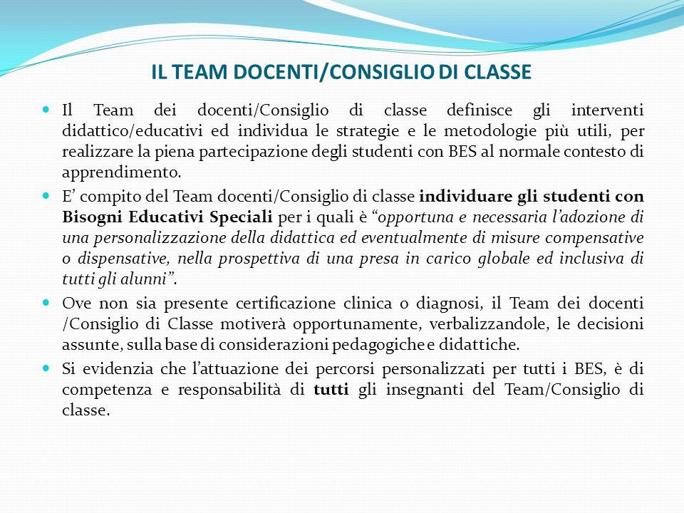 IL TEAM DOCENTI/CONSIGLIO DI CLASSE