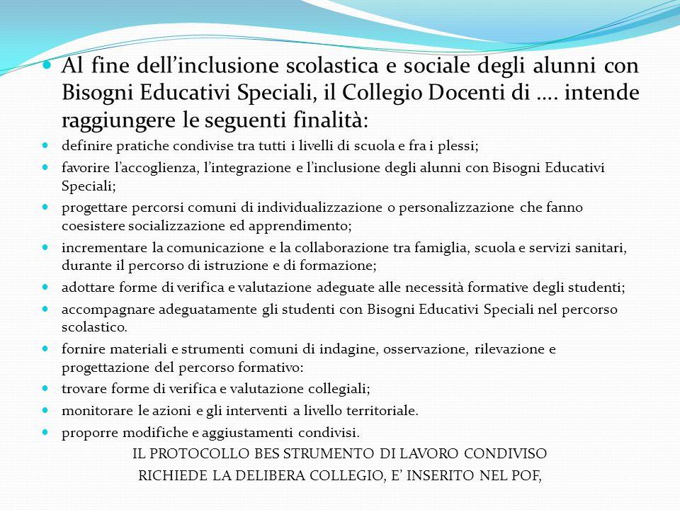 Al fine dell'inclusione scolastica e sociale degli alunni con Bisogni Educativi Speciali, il Collegio Docenti di …. intende raggiungere le seguenti finalità:
