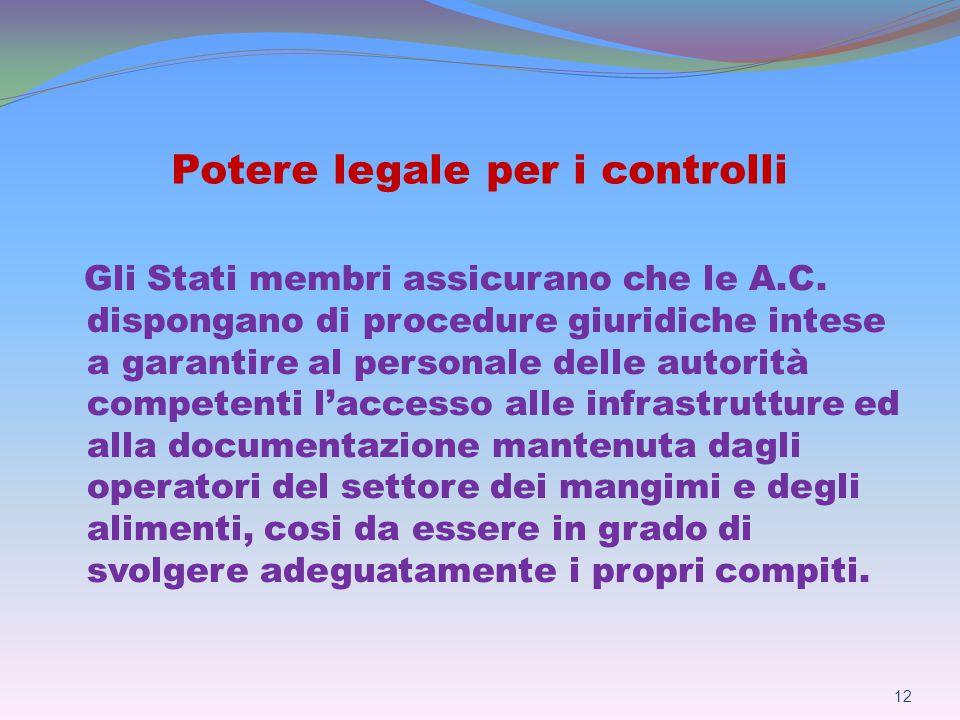 Potere legale per i controlli