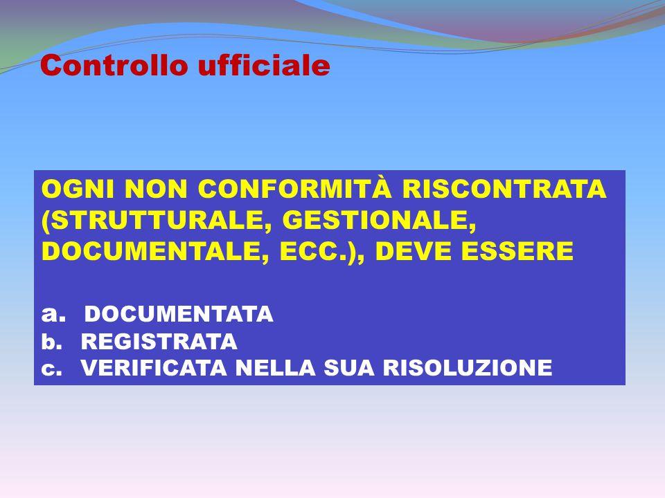 Controllo ufficiale OGNI NON CONFORMITÀ RISCONTRATA