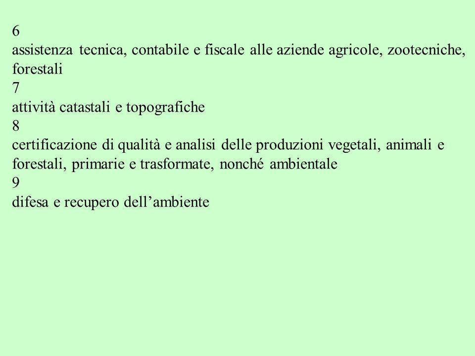 6 assistenza tecnica, contabile e fiscale alle aziende agricole, zootecniche, forestali. 7. attività catastali e topografiche.