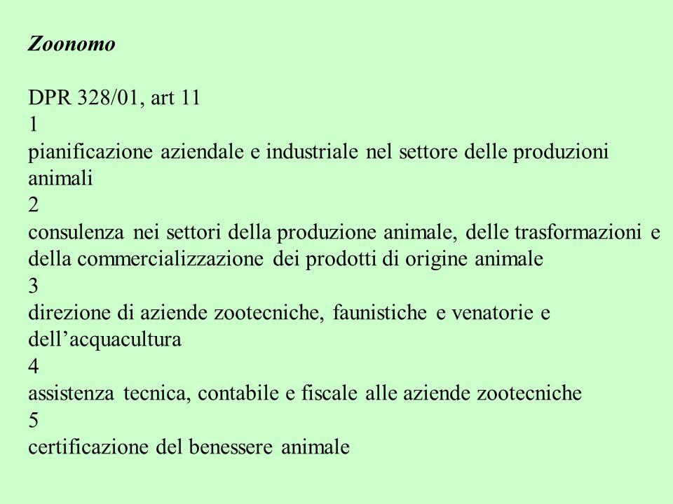 Zoonomo DPR 328/01, art 11. 1 pianificazione aziendale e industriale nel settore delle produzioni.