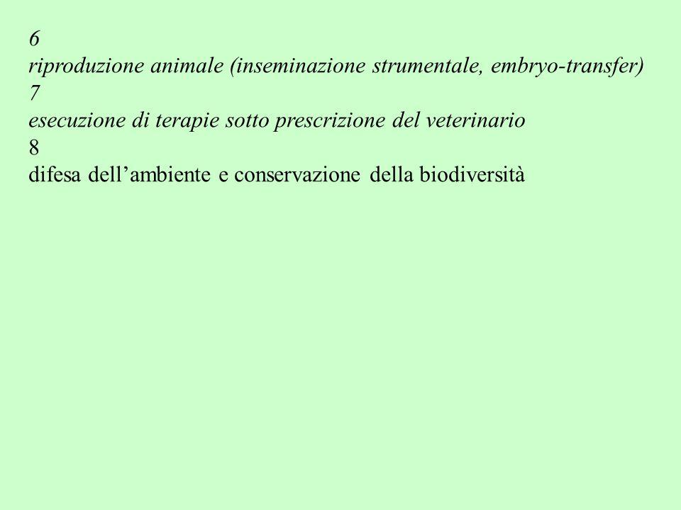6 riproduzione animale (inseminazione strumentale, embryo-transfer) 7. esecuzione di terapie sotto prescrizione del veterinario.