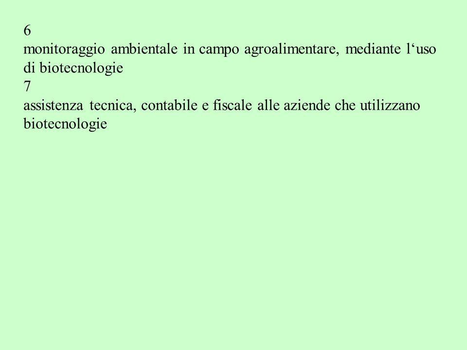 6 monitoraggio ambientale in campo agroalimentare, mediante l'uso. di biotecnologie. 7.