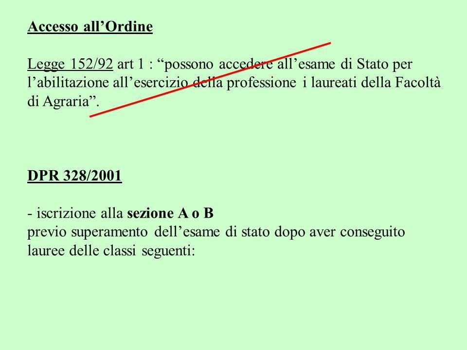 Accesso all'Ordine Legge 152/92 art 1 : possono accedere all'esame di Stato per.