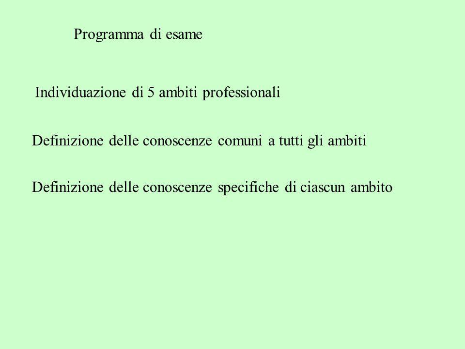 Programma di esame Individuazione di 5 ambiti professionali. Definizione delle conoscenze comuni a tutti gli ambiti.