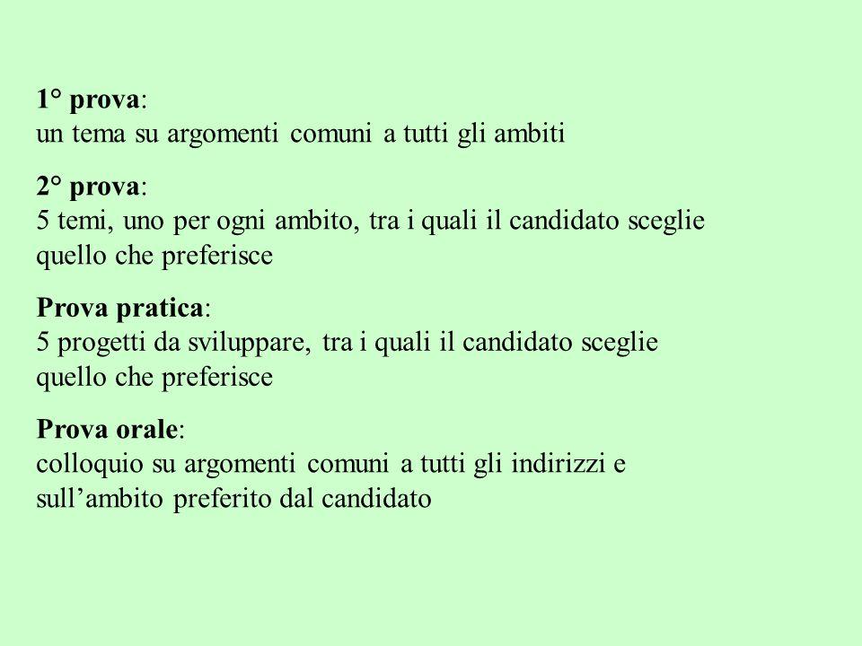 1° prova: un tema su argomenti comuni a tutti gli ambiti. 2° prova: 5 temi, uno per ogni ambito, tra i quali il candidato sceglie.