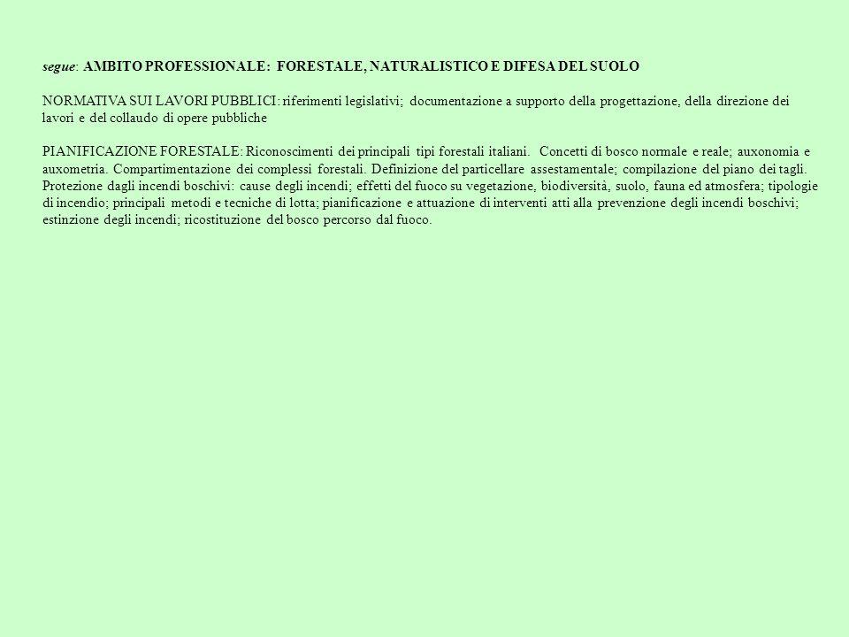 segue: AMBITO PROFESSIONALE: FORESTALE, NATURALISTICO E DIFESA DEL SUOLO