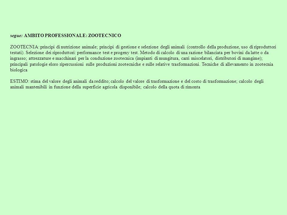 segue: AMBITO PROFESSIONALE: ZOOTECNICO