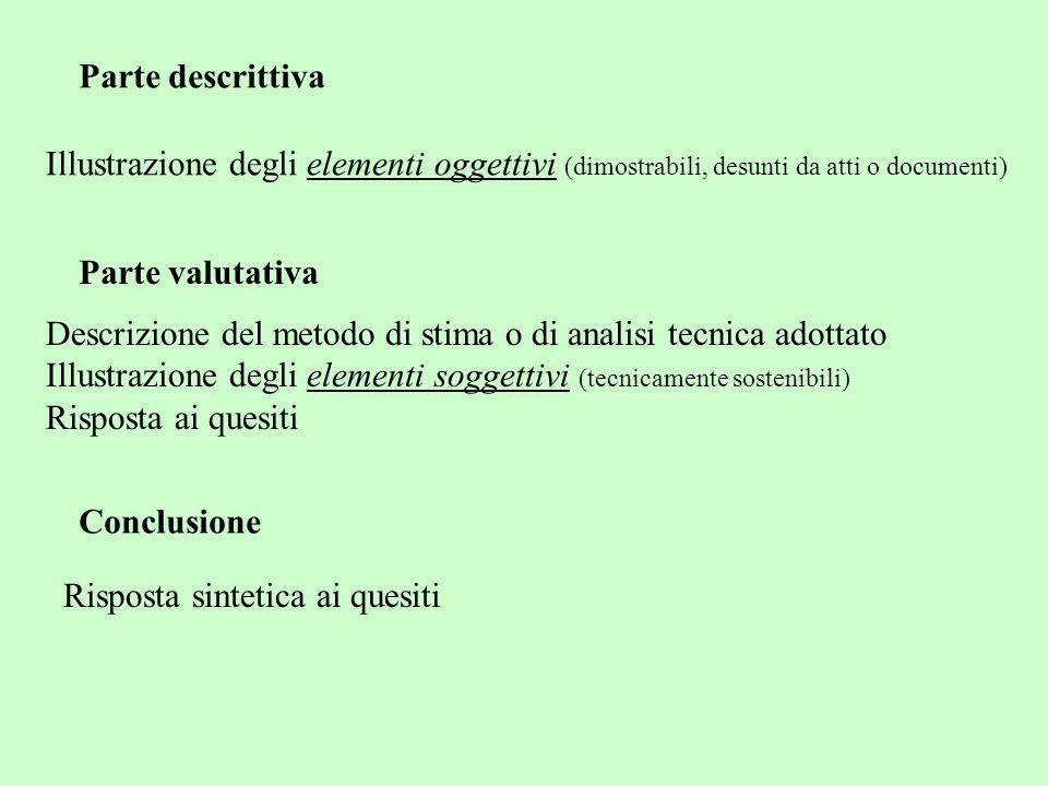 Parte descrittiva Illustrazione degli elementi oggettivi (dimostrabili, desunti da atti o documenti)