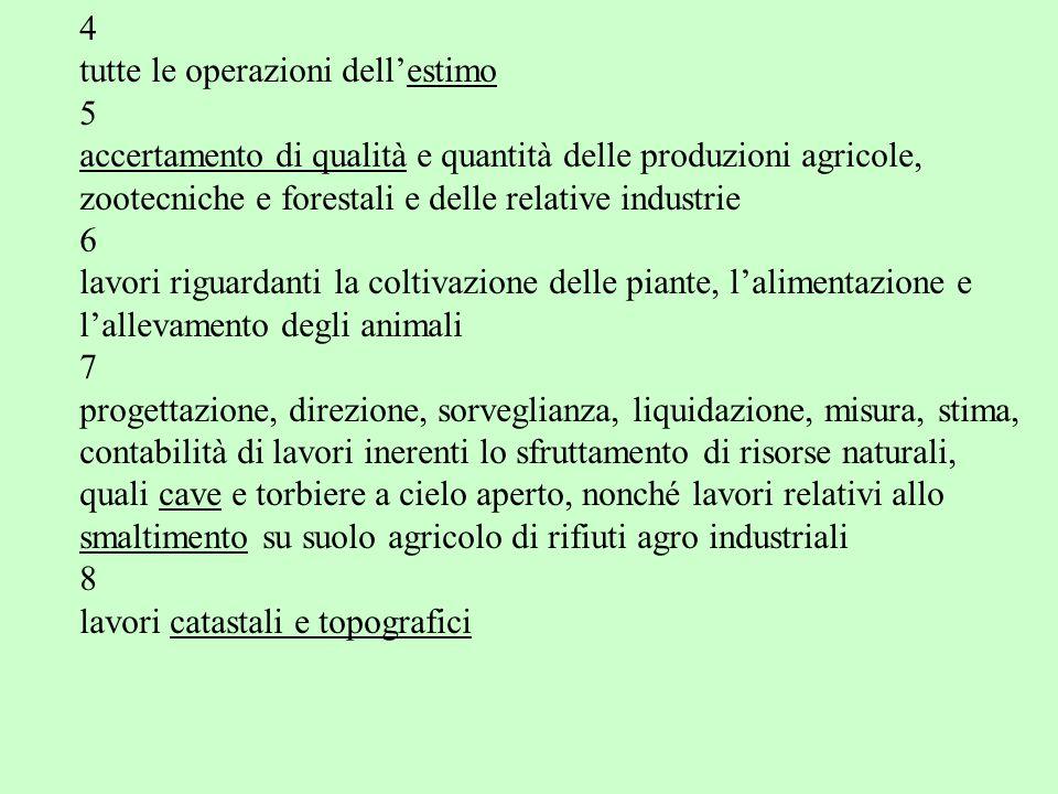 4 tutte le operazioni dell'estimo. 5. accertamento di qualità e quantità delle produzioni agricole,
