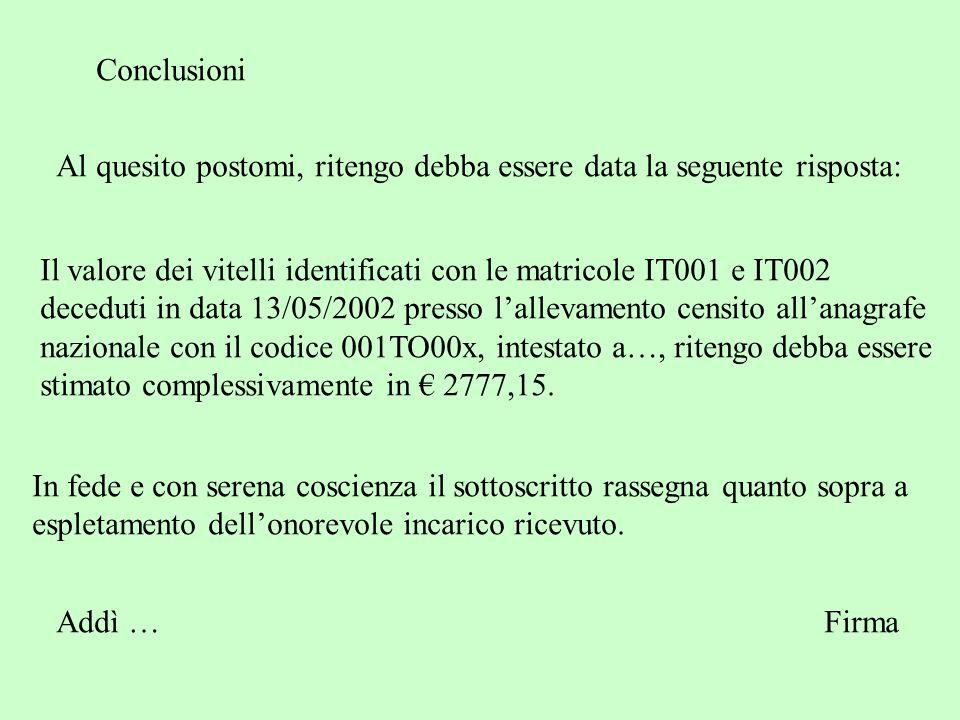 Conclusioni Al quesito postomi, ritengo debba essere data la seguente risposta: Il valore dei vitelli identificati con le matricole IT001 e IT002.
