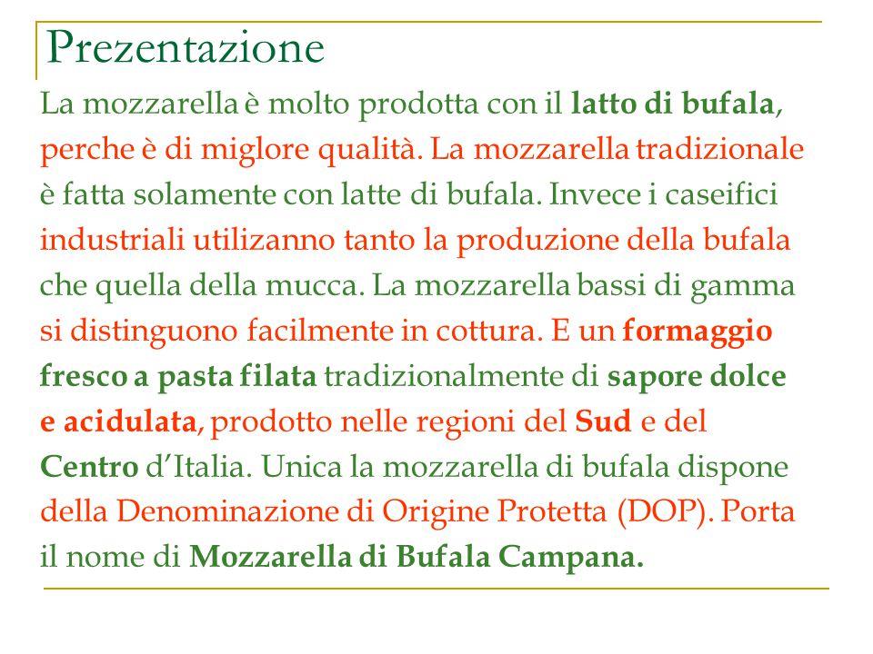 Prezentazione La mozzarella è molto prodotta con il latto di bufala,