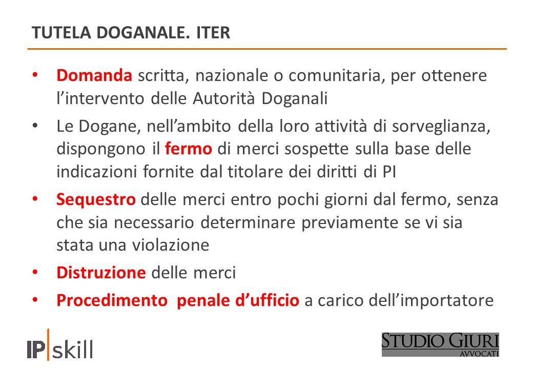 TUTELA DOGANALE. ITER Domanda scritta, nazionale o comunitaria, per ottenere l'intervento delle Autorità Doganali.