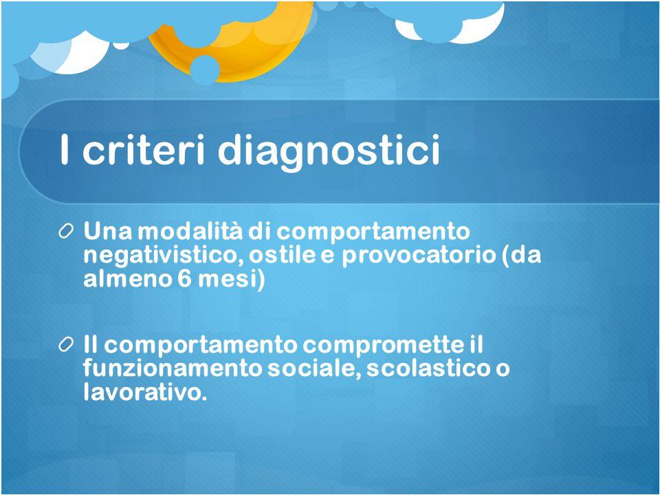 I criteri diagnostici Una modalità di comportamento negativistico, ostile e provocatorio (da almeno 6 mesi)