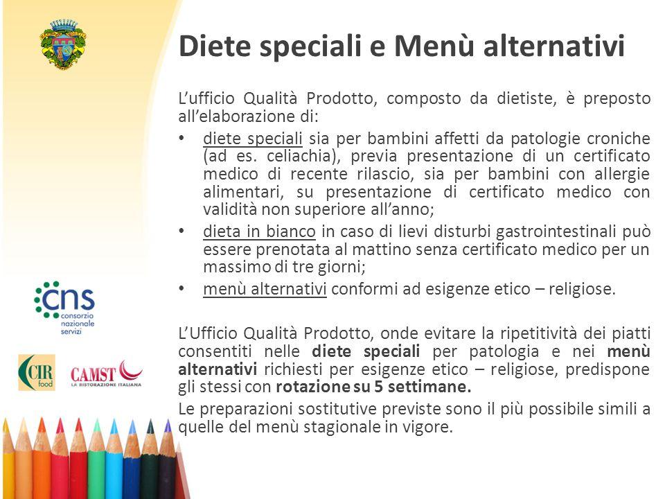 Diete speciali e Menù alternativi