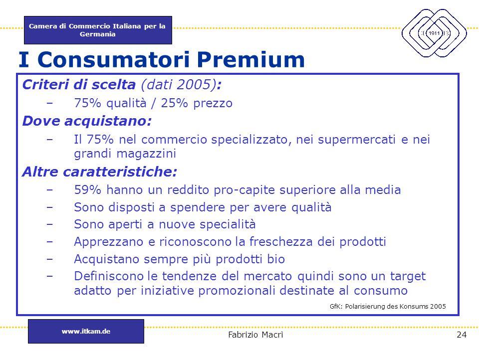 I Consumatori Premium Criteri di scelta (dati 2005): Dove acquistano: