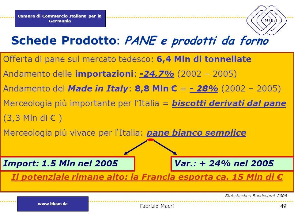 Schede Prodotto: PANE e prodotti da forno