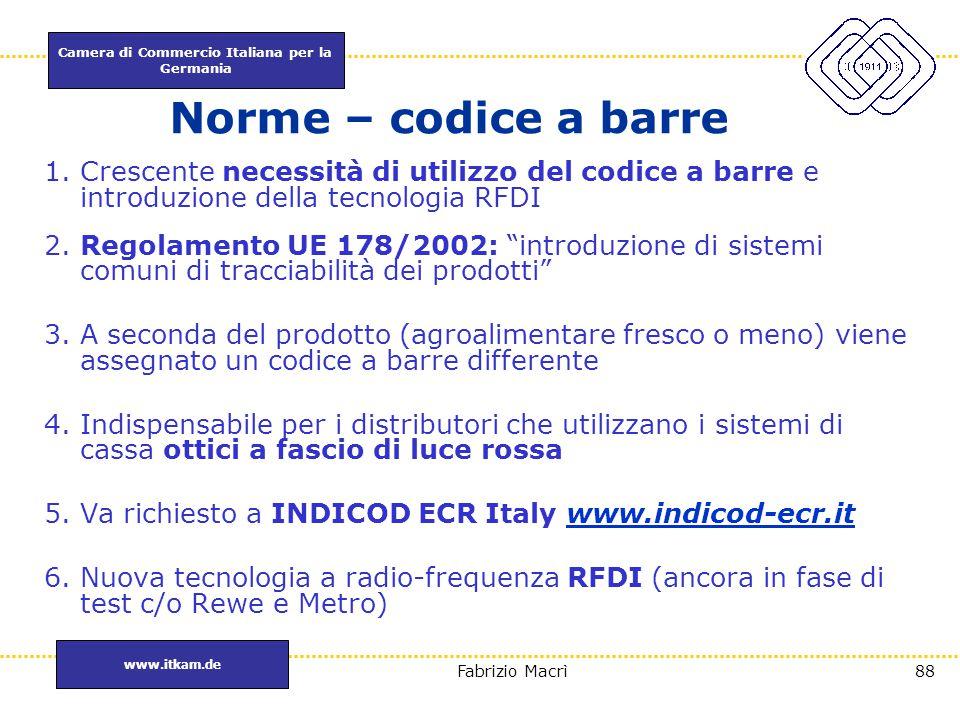 Norme – codice a barre Crescente necessità di utilizzo del codice a barre e introduzione della tecnologia RFDI.