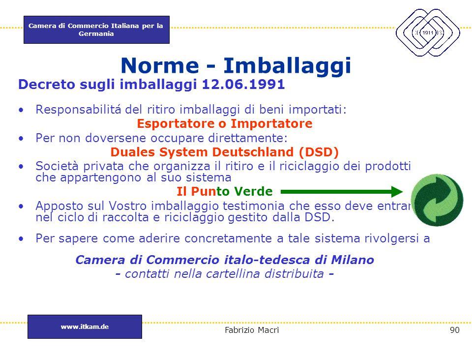 Esportatore o Importatore Camera di Commercio italo-tedesca di Milano