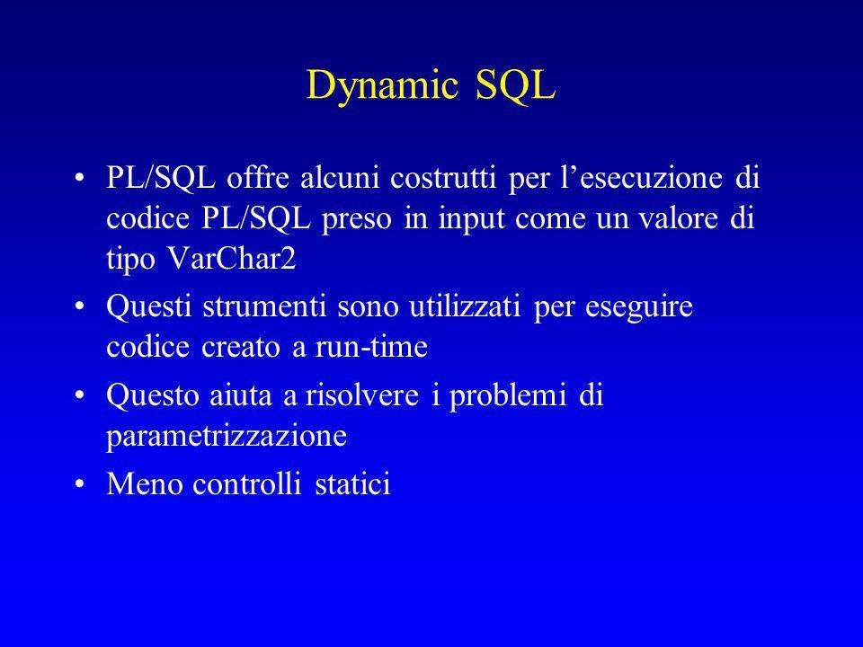 Dynamic SQL PL/SQL offre alcuni costrutti per l'esecuzione di codice PL/SQL preso in input come un valore di tipo VarChar2.