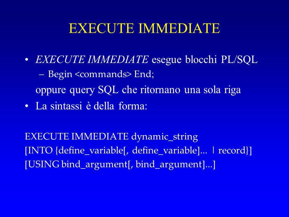 EXECUTE IMMEDIATE EXECUTE IMMEDIATE esegue blocchi PL/SQL