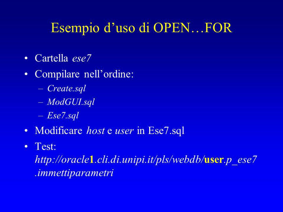Esempio d'uso di OPEN…FOR