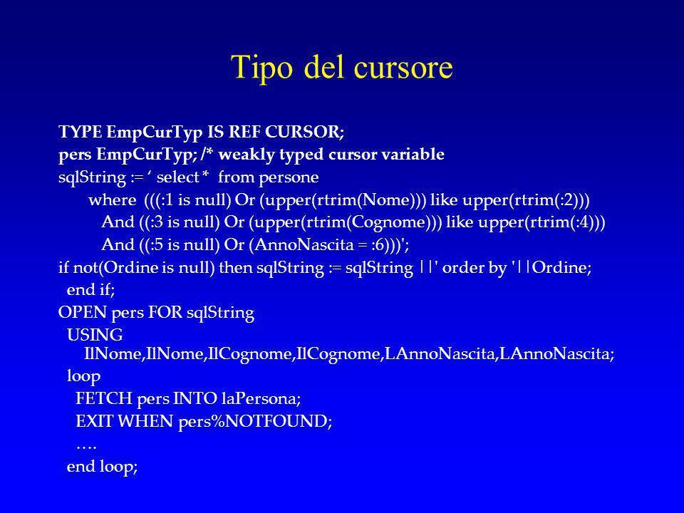 Tipo del cursore TYPE EmpCurTyp IS REF CURSOR;
