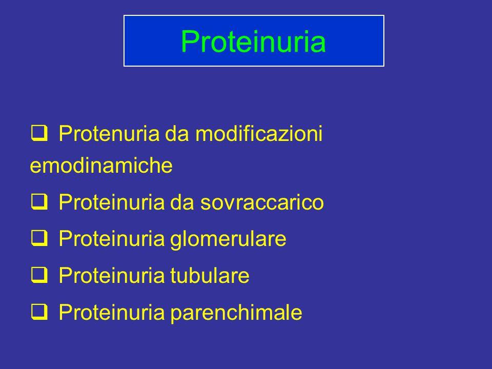 Proteinuria Protenuria da modificazioni emodinamiche