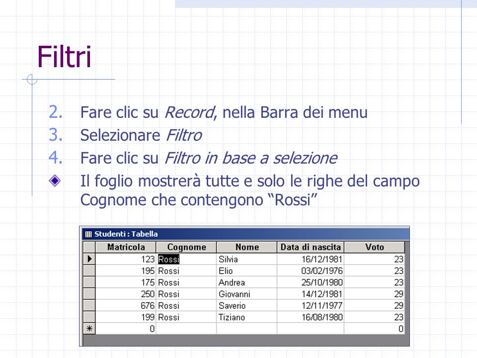 Filtri Fare clic su Record, nella Barra dei menu Selezionare Filtro