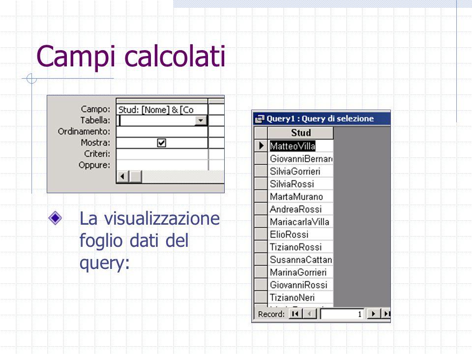 Campi calcolati La visualizzazione foglio dati del query: