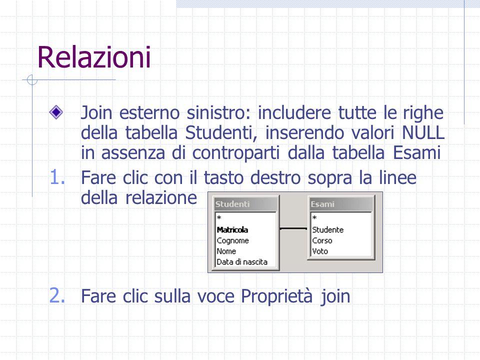 Relazioni Join esterno sinistro: includere tutte le righe della tabella Studenti, inserendo valori NULL in assenza di controparti dalla tabella Esami.