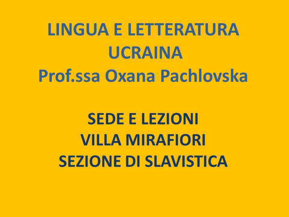 Prof.ssa Oxana Pachlovska